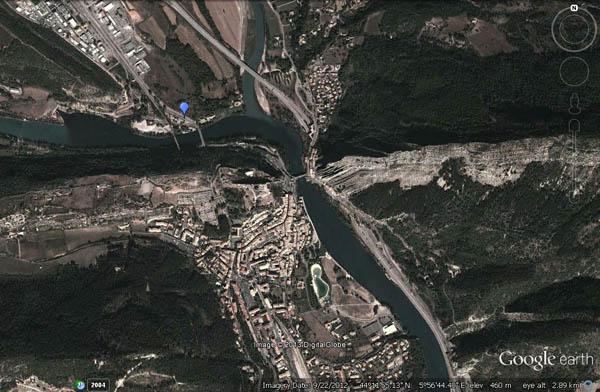 Google Earth view of Turner's viewpoint at Sisteron