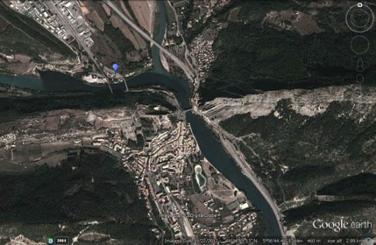 Google Earth view of Turner's viewpoint at Sisteron