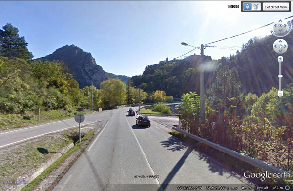 Google 'Street View' from near by Turner's viewpoint at Sisteron