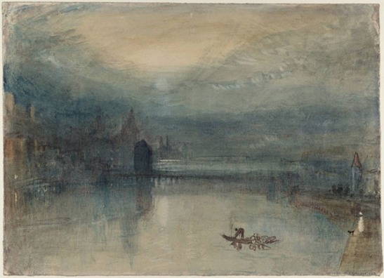 J.M.W.Turner Lucerne by Moonlight: Sample Study, c.1841? Watercolour on paper, 235 x 325 mm Tate D36182; TB CCCLXIV 324 Photo courtesy of Tate Britain To see this sketch on the Tate's online catalogue of the Turner bequest click on the link below, then press your browser's 'back' button to return to this page http://www.tate.org.uk/art/artworks/turner-lucerne-by-moonlight-sample-study-d36182