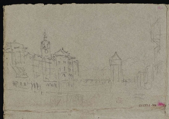 J.M.W.Turner Lucerne: the Wasserturm and Kapellbrucke from the Bahnhofstrasse near the Reussbrucke, with the Clock Tower to the left and part of the Jesuitenkirche to the right, about 1840? Pencil on grey paper, 193 x 279 mm Tate Britain, TB CCCXLI 384: D34107 (hitherto called 'Lucerne') Photo courtesy of Tate Britain To see this sketch on the Tate's online catalogue of the Turner bequest click on the link below, then press your browser's 'back' button to return to this page http://www.tate.org.uk/search/cccxli%20384