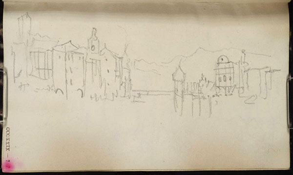 J.M.W.Turner Lucerne from (above) the Reussbrucke, , with from right to left, the Jesuitenkirche, the Wasserturm, the Kapellbrucke, the spire of St Peter's Church, the Clock Tower and the Dachliturm, 1844? Pencil on white wove paper, 138 x 82 mm From the Between Lucerne and Thun sketchbook, TB CCCXXIX 7r, D33144 (hitherto called 'Town on Lake') Photo courtesy of Tate Britain To see this sketch on the Tate's online catalogue of the Turner bequest click on the link below, then press your browser's 'back' button to return to this page http://www.tate.org.uk/art/artworks/turner-town-on-lake-d33144