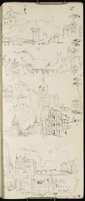 J.M.W.Turner Several sketches at Lucerne, 1842 1) The Wasserturm and Kapellbrucke, Lucerne, from the Reussbrucke, with the Rigi behind and the Jesuitenkirche to the right with an additional detail of the Jesuitenkirche above left. The same material sketched from the quay, further right, in (3-4) below. 2) Looking down the Reuss from the Reussbrucke, Lucerne, with the Spreuerbrucke in the mid-distance, the Gutschwald above left and the towers of the Musegg wall descending to the river from the right. With the sun setting directly down the line of the river. The same material sketched from a viewpoint slightly further left, and perhaps closer, at the bottom of the page (5) 3) Looking up the Reuss, from the Reussbrucke, with the Clock Tower, and continued to the right below in 4) to include the Wasserturm and Jesuitenkirche. Similar material to that sketched in (1) above, but from a viewpoint on the quay rather than on the bridge, and adopting a more panoramic treatment. 5) Looking down the Reuss to the Spreuerbrucke and Nollig Tower, with the Gutschwald in the distance left, and the sun setting down the line of the river. Similar material to that sketched in (2) above, but probably from a closer viewpoint on the left bank. 6) (upside down) Buildings alongside the Reuss, Lucerne, probably the continuation of (5) to the right 7) (down the outside edge of the page) Various figures at a market - from left to right,  a figure with a cart selling 'Butter', another two figures with a cart selling 'Milk', another cart and then two figures 'House Maids' and finally another cart and figure.  Pencil on white wove paper, 165 x 74 mm A page from the Lake of Zug and Goldau sketchbook, Tate Britain, TB CCCXXXI 28r; D33460 (hitherto called 'At Lucerne') Photo courtesy of Tate Britain To see this sketch on the Tate's online catalogue of the Turner bequest click on the link below, then press your browser's 'back' button to return to this page http://www.tate.org.uk/search/D33460
