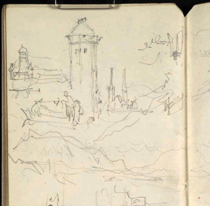 J.M.W.Turner  Several sketches at or near Lucerne (detail of top part pf page), 1842  Several sketches at Lucerne:  1) The Wasserturm from the Bahnhofstrasse, looking to the twin spires of the Hofkirche. A similar view to that recorded in the Between Lucerne and Berne sketchbook TB CCCXXIX 01r, but from a viewpoint slightly further left to bring the Wasserturm and Hofkirche into direct juxtaposition. Continued to the right immediately below in  2) to take in the Rigi and the view of the lake.  Pencil on white wove paper, 165 x 74 mm  A page from the Lake of Zug and Goldau sketchbook, Tate Britain, TB CCCXXXI 28v; D33461 (hitherto called 'Mountains, Towers, Etc')  Photo courtesy of Tate Britain  To see this sketch on the Tate's online catalogue of the Turner bequest click on the link below, then press your browser's 'back' button to return to this page  http://www.tate.org.uk/art/artworks/turner-mountains-towers-etc-d33461