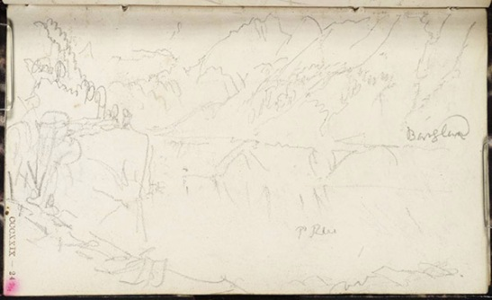J.M.W.Turner The Lungernsee from its northern end, looking towards the Brunig Pass, with the high peaks of the Bernese Oberland just visible in the distance, 1844 From the Between Lucerne and Thun sketchbook, Tate Britain, Turner Bequest TB CCCXXIX 24, Tate D33178, Pencil on paper 82 x 138 mm Photo courtesy Tate
