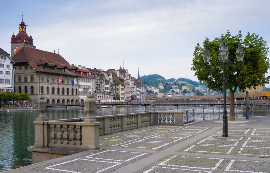 Lucerne from Outside the Jesuit Church Photograph by David Hill, 26 May 2014, 20.13 The Hofkirche is directly behind the Tour Baghard. A little further to the left, and it would be exactly as shown in Turner's watercolour. Click on the image to enlarge.