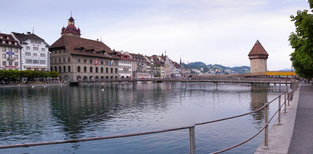 Lucerne from outside the Jesuit Church Photograph by David Hill, 25 May 2014, 20.15 From a little further right of the photograph above, briging the Hofkirche and Tour Bagharda little more clearly into view. Click on image to enlarge
