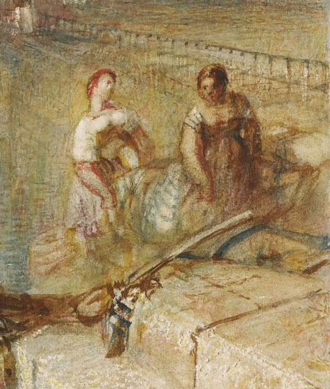 J.M.W.Turner Lucerne by Moonlight, c.1844? (detail, right side) No-one seems ever to have given any consideration to this detail. Two women are carrying another between them, who is certainly incapacitated, and perhaps even dead (?). What could be the meaning of all this??