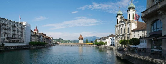 Lucerne, the Wasserturm and Mont Rigi from the Reussbrucke, early evening. Photograph by David Hill, 26 May 2014, 18.29 Click on the image to enlarge.