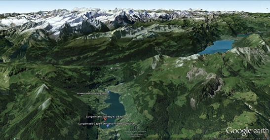 Google Earth aerial view of Lungernsee, looking south-east, marking sites of Turner sketches and watercolours. Snowy peaks of Bernese Oberland in diastance, and Lake of Brienz in mid-distance to right.