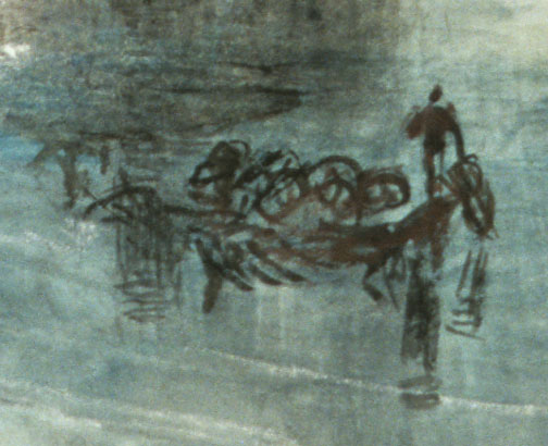 J.M.W.Turner Zurich by Moonlight, c.1842-2 (detail, lower right) Photograph: David Hill, by courtesy of the Art Institute Chicago