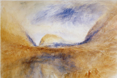 J.M.W.Turner The Lungernsee, going up to the Brunig Pass, looking north-north-east. Called 'Lake with hills (?Brienz)', c.1848 Watercolour, 353 x 527 mm, 14 x 20 3/4 ins London, Victoria and Albert Museum (124-1894) Photo courtesy of V&A