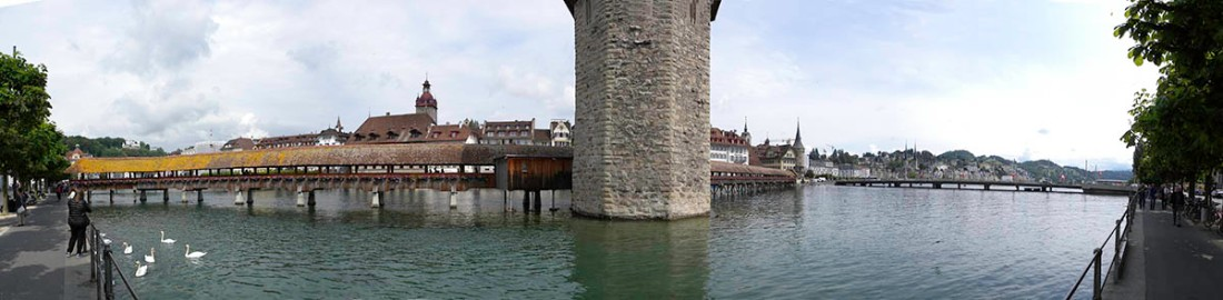 Lucerne: Panorama of the Wasserturm and Kapellbrucke from the Bahnhofquai. Photograph by David Hill, 26 May 2014, 10.38