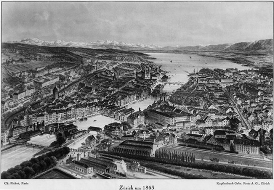 Michel Charles Ficot (1817-1903), after Zurich, 1863 Lithograph Courtesy of Wikimedia Commons. The watermills of Zurich are here approaching their peak before the introduction of electricity began to make them redundant. Turner's viewpoint would be at the near end of the central row, looking to the right towards the Rathausbrucke.