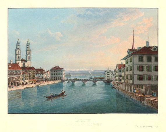 Friedrich Weber, after Heinrich Corrodi Zurich: The Munsterbrucke from the Rathausbrucke, with the Hotel Schwerdt, to the right, c.1838 Hand coloured etching, 240 x 324 (platemark) British Museum, London, R.W.Lloyd Bequest, 1958,0712.2603 Photograph courtesy of British Museum To view the watercolour on the British Museum's own website click on the following link, and the click on your browser's 'back' button to return to this page: http://www.britishmuseum.org/research/collection_online/collection_object_details.aspx?objectId=3324583&partId=1&searchText=zurich&images=true&page=1 Turner's guidebook recommended the Hotel Schwerdt [Sword]. This view records the view upstream from the Rathausbrucke with the hotel to the right. Turner would have certainly appreciated that it gave views directly onto the Limmat. He could easily have watched the moon over the river from his windows, and the viewpoint of his coloured sketch was close by. This view was possibly taken around the time of Turner's visits. Murray's Handbook of 1838 records the new stone Munsterbrucke, but says also that the old prison tower, the Wellenberg, which formerly stood just upstream of the Munsterbrucke, was still standing. Other sketches by Turner of the area (click on the following link and enter 'Zurich', and then press your browser's 'back' button to return to this page:) http://www.tate.org.uk/art show that it had been removed by the time that he was there in the 1840s.