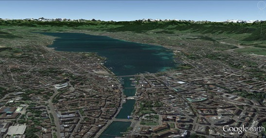 Google Earth aerial view of Zurich, looking south along the river Limmat to the Lake of Zurich, marking the viewpoint of Turner's Zurich by Moonlight, and the positions of the Grossmunster and Fraumunster.