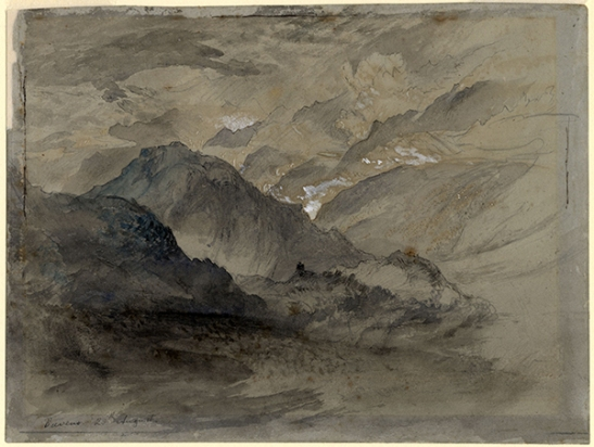 John Ruskin From above Baveno, looking north west to Monte Orfano, and the entrance to the Domodossola valley leading to the Simplon Pass, 1845 Pencil, ink and watercolour on grey paper, 162 x 215 mm Ruskin Library, University of Lancaster RF870 (recto) Previously called 'Mountains and Lake, Baveno' this drawing may here be more specifically identified as being taken from a viewpoint above Baveno near the Parrocchia di Campino, more-or-less continuing the drawing on the verso (below) to the left. Courtesy of the Ruskin Library, University of Lancaster.