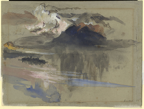 John Ruskin Isola Madre and the Mountains above Laveno, from above Baveno on Lago Maggiore, 1845 Pencil, ink and watercolour on grey paper, 162 x 215 mm Ruskin Library, University of Lancaster RF870 (verso) Hitherto known as 'Mountains and Lake, Baveno' this can here be more specifically identified as the view over Isola Madre from above Baveno near the Parrocchia di Campino, and more-or-less continuing the drawing on the recto (above) to the right. Courtesy of the Ruskin Library, University of Lancaster.