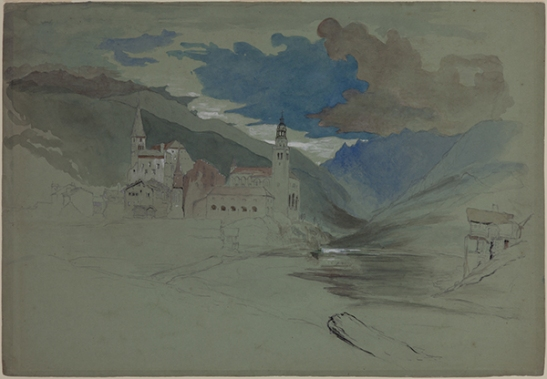 John Ruskin Visp in the Valais, Switzerland, 1844 Pencil and watercolour, 327 x 465 mm Recording the view from the bridge over the river Visp with the Town Hall and St Martin's convent to the left, and the valley towards Zermatt to the right. Ruskin Library, University of Lancaster RF870 (verso) Hitherto known as 'Mountains and Lake, Baveno' this can here be more specifically identified as the view over Isola Madre from above Baveno near the Parrocchia di Campino, and more-or-less continuing the drawing on the recto (above) to the right. Courtesy of the Ruskin Library, University of Lancaster.