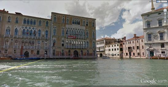 Google Earth image of Ca' Foscari from the Grand Canal. Ruskin's window is in the second floor, to the left of the balcony.