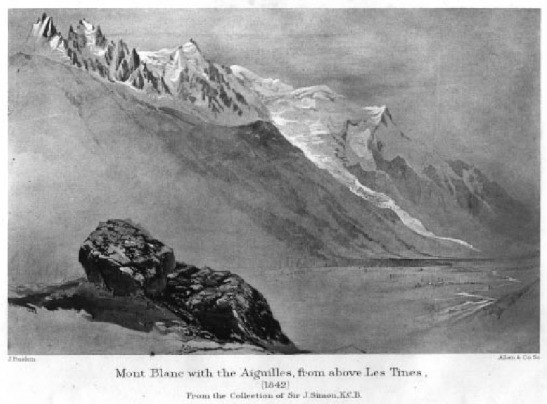 John Ruskin Mont Blanc and the Glacier des Bossons from above Les Tines, 1842 Untraced watercolour, reproduced from Cook and Wedderburn (eds), The Works of John Ruskin, 1903-12, Volume 4, as frontispiece