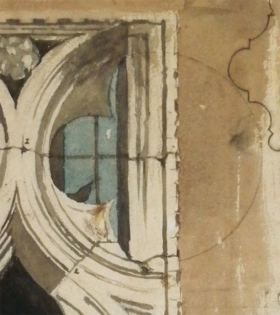 Window in the Ca' Foscari, 1845 Detail of the geometric construction Photograph: David Hill By courtesy of the Master of King's College, Cambridge