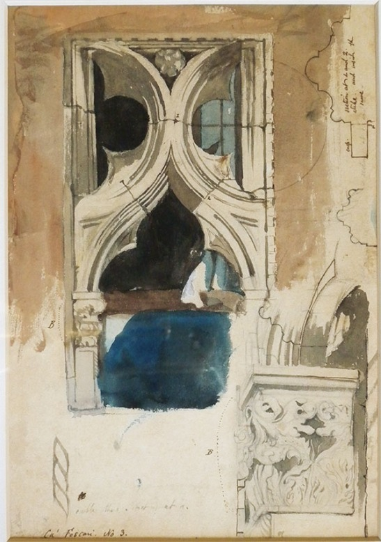 John Ruskin A Window in the Ca' Foscari, Venice, 1845 Pencil, pen and ink and watercolour, 13 x 9 3/4 ins, 330 x 236 mm King's College, Cambridge Photo: David Hill, courtesy of the Master and Provost of King's College.