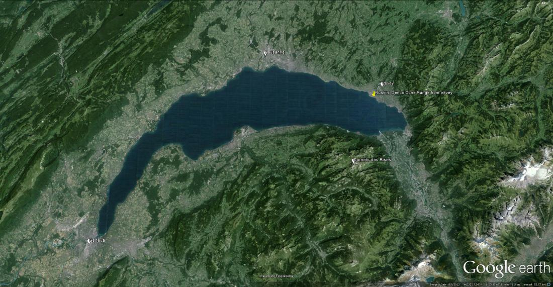 Google Earth image showing Lac Leman area, including Ruskin's viewpoint at Vevey