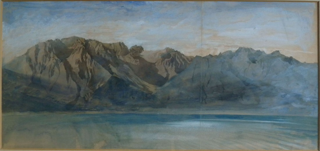 John Ruskin The Dent d'Oche range on the south side of Lac Leman from Vevey, Switzerland, 1846? Pencil and watercolour, 9 3/4 x 21 ins, 252 x 530 mm (sight) King's College, Cambridge Photograph: David Hill, by courtesy of the master of King's College Cambridge (Double-click to enlarge; use back button to return to this page)
