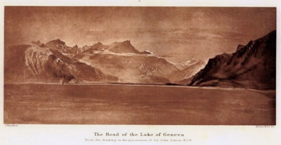 John Ruskin The Head of Lac Leman from off Vevey, 1846 Watercolour, 8 x 18 ½ ins Untraced Reproduced here from The Library Edition of the Works of John Ruskin, 1903-13, Volume 5, plate E. Effectively continuing the field of view of the King's drawing to the left. This must have been taken from a boat in the middle of the lake, since the Dents du Midi are hidden behind the hills to the right. Ruskin was a strong rower, and took to the water at every opportunity.
