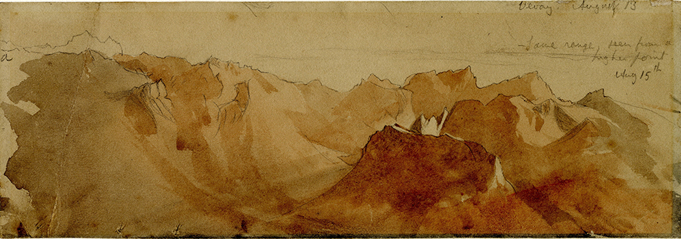 John Ruskin The Dent d'Oche range on the south side of Lac Leman from Les Pleiades above Vevey, 15 August 1846 Pencil and watercolour, 3 1/4 x 9 1/2 ins, 82 x 241 mm Ruskin Library, University of Lancaster (RF1081) Photo courtesy of the Ruskin Library, University of Lancaster
