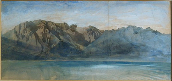 John Ruskin The Dent d'Oche range on the south side of Lac Leman from Vevey, Switzerland, 1846? Pencil and watercolour, 9 3/4 x 21 ins, 252 x 530 mm (sight) King's College, Cambridge Photograph: David Hill, by courtesy of the master of King's College Cambridge