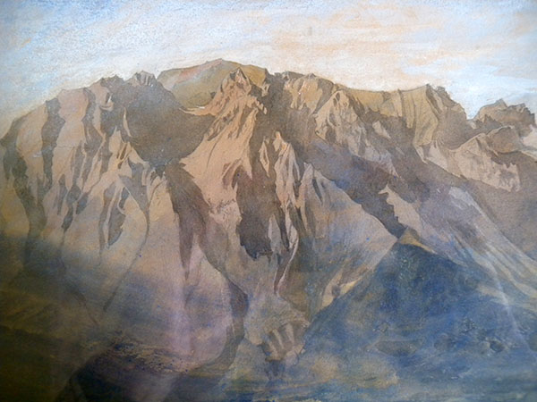 John Ruskin The Dent d'Oche range on the south side of Lac Leman from Vevey, Switzerland (detail) Detail of peaks from Le Grammont to the Cornets des Bises.