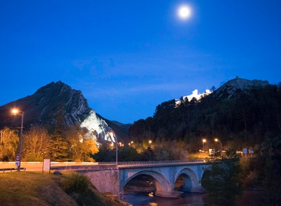 Sisteron; the Pont du Buech by Moonlight Photograph by David Hill, 12 April 2014, 20.53.04 Click to enlarge and then use 'back' button to return to this page