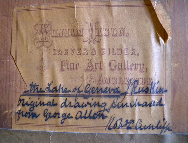 Backboard with label of William Mason, Carver and Gilder of Ambleside, and Robert Cunliffe's inscription Photograph: David Hill, courtesy of the Master of King's College, Cambridge.