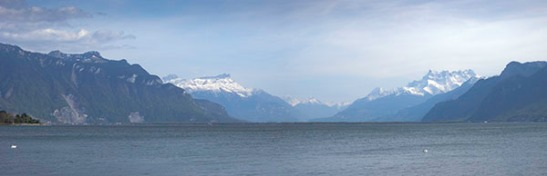 The head of Lac Leman from Vevey. Photograph: David Hill, April 2011. Showing how prominent are the Dents du Midi from the promenade at Vevey.