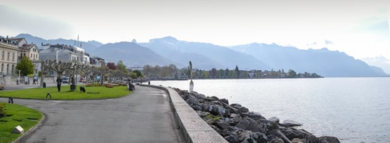 The Promenade at Vevey, with the Trois Couronnes Hotel Photograph: David Hill, April 2011 The Trois Couronnes was Ruskin's regular resort at Vevey. The King's watercolour was probably made from one of its lakefront rooms.