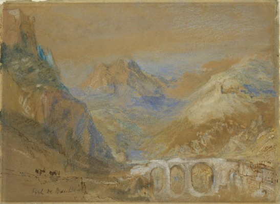 J.M.W.Turner Sisteron: The Pont du Buech from La Baume, 1838? Pencil, watercolour, bodycolour and chalk with pen and brown ink on buff paper, 5 1/2 x 7 9/16 ins,  140 x 193 mm The Museum of Rhode Island School of Design, USA (69.154.53)  Photograph courtesy of Rhode Island School of Design