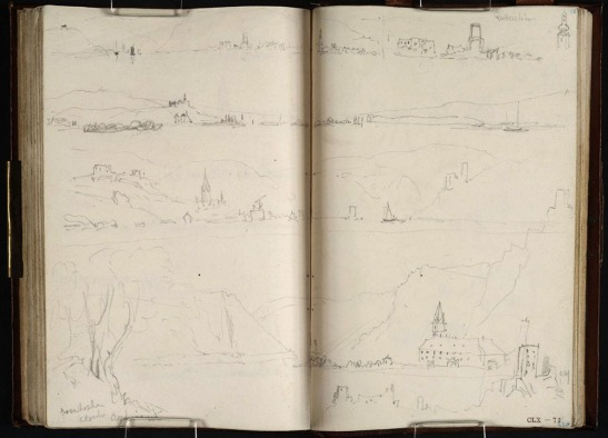 J.M.W.Turner Waterloo and Rhine sketchbook Page spread with a group of sketches made from a boat on 27 August 1817 when travelling by boat down the Rhine from Mainz to St Goar, including (centre of page) From below Rudesheim looking to Bingen, the Mausethurm and Burg Ehrenfels. This sketch is usually said to be the direct basis of the watercolour, but this article tries to find some room for doubt. Pencil on paper, sketchbook page size (each) 150 x 94 mm, 5 7/8 x 3 11/16 ins Tate Britain, Turner Bequest TB CLX 71v-72r Photo courtesy of Tate. To see the sketches in Tate online catalogue of the Turner bequest, click on the following link, and then click your browser's 'back' button to return to this page: http://www.tate.org.uk/art/artworks/turner-views-downstream-from-mid-river-1-to-bingen-and-rudesheim-sketch-of-rudesheim-to-d12841