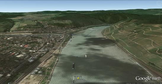 Google Earth aerial view of the Rhine at Bingen. With placemarks indicating the viewpoint of Turner's sketch n yellow, and of the watercolour in blue. Click on image to open full size.