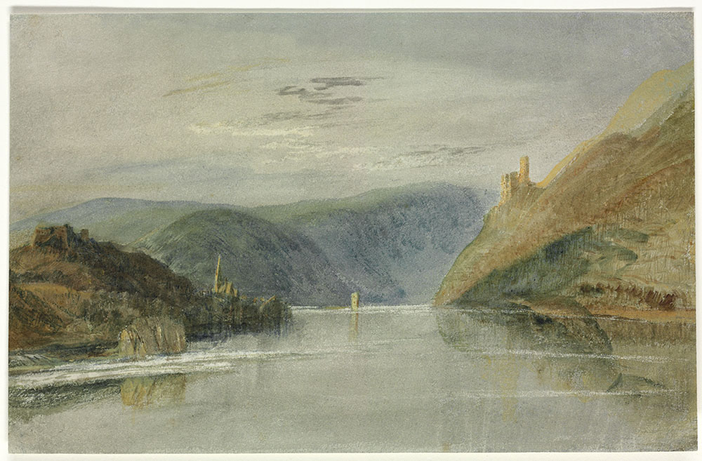 J.M.W.Turner Binger Loch and Mausethurm, 1817 Watercolour and bodycolour on white paper prepared with a wash of grey, 194 x 311 mm, 7 5/8 x 12 1/4 ins Christie's, London, 10 July 2014, lot 214 Recording the view down the Rhine with Burg Klopp and Bingen to left, the Mausethurm centre, and Burg Ehrenfels to the right. Photograph courtesy of Christie's Ltd. To jump to this watercolour in Christie's online catalogue click on the following link, and then click your browser's 'back' button to return to this page: http://www.christies.com/lotfinder/drawings-watercolors/joseph-mallord-william-turner-ra-binger-5812642-details.aspx