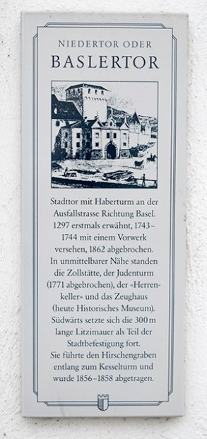 Wall plaque near the site of the Baslertor Photograph by David Hill, 27 May 2014, 14.10
