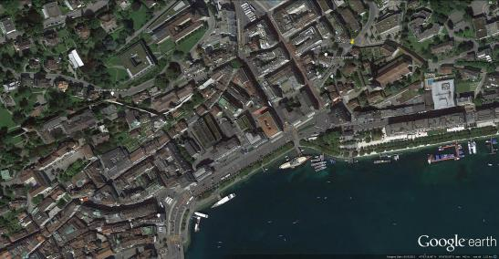 Google Earth aerial view. Looking west over the Hotel Hofgarten, with a placemark indicating Ruskin's exact viewpoint.
