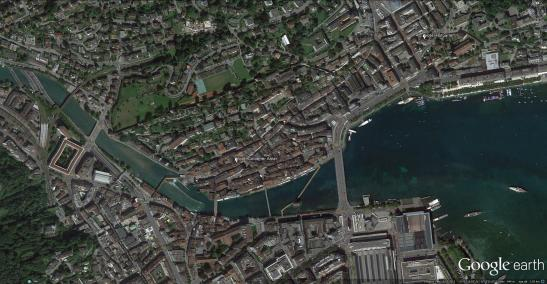 Google Earth aerial view of Lucerne White placemarks indicate the sites of Ruskin's subjects. Click on image to englarge