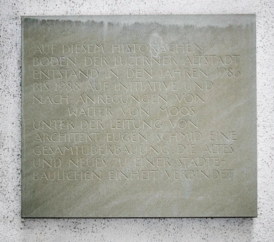 Wall plaque on Kasernenplatz#2 Recording the restoration in 1986-88 Photograph by David Hill, 27 May 2014, 14.07