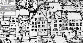 Martin Martini Pictorial Map of Lucerne, 1597 Detail of engraving showing the Rossligasse and part of the Hirschenplatz. The original doorway of the Goldener Adler building is partly obscured in this detail, but we can see that none of the buildings hereabouts had ornamental ground floor windows. A fully-zoomable version of the map can be viewed on the website of the Staatsarchiv of Lucerne. Click on the following link and use your browser's 'back' button to return to this page: http://www.staatsarchiv.lu.ch/index/schaufenster/karten_stadtansichten/stadtansicht_martini.htm
