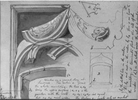 John Ruskin A window of the Hotel Goldener Adler, Lucerne; Called 'Window on a ground story at Lucerne', Architectural Studies, Lucerne; Mouldings at Lucerne, 1846 Black ink, gray wash, white gouache, and graphite on light brown wove paper, 127 x 178 mm, 5 x 7 in USA, Harvard, Fogg Art Museum, 1926.33.145 Photo courtesy of Harvard Art Museums To view this image in Harvard Art Museums' online catalogue click on the following link, and use your browser's 'back' button to return to this page: http://www.harvardartmuseums.org/art/298813
