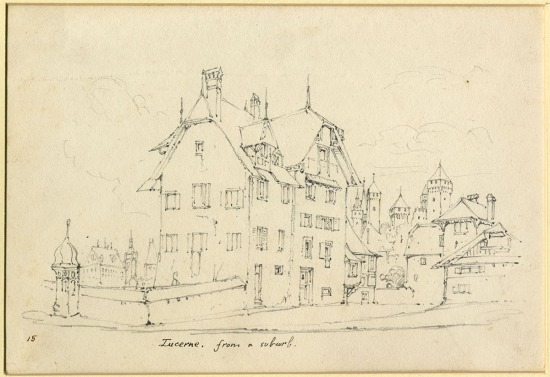 John Ruskin The Hotel Hofgarten, Lucerne, with the Swan hotel in the distance left, and the Musegg Wall and Towers to the right. Called 'Lucerne, from a suburb', 1835 Pencil on wove paper, 6 4/10 X 9 2/10 ins, 150 x 220 mm Lancaster, Ruskin Library, University of Lancaster RF 1996P2033 ADD/L/33 Photo courtesy of the Ruskin Library, University of Lancaster