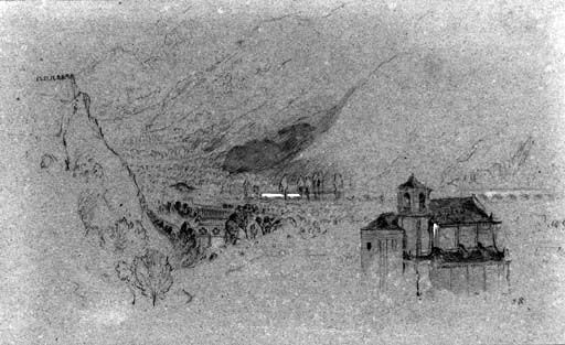 John Ruskin Bellinzona: the Church of San Giovanni, from Daro, 1858.  Pen and ink and wash, 5 1/2 x 8 1/2 ins, 135 x 220 mm.  Pprivate Collection, sold Christie's 8 June 1999 no.172 Image from Christie's website: follow link for full Christie's catalogue:http://www.christies.com/lotfinder/lot_details.aspx?intObjectID=1472395