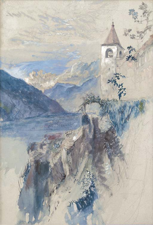 John Ruskin The Church of San Quirico at Daro above Bellinzona, Switzerland, looking north towards the St Gotthard Pass. Called Cure's Garden at Bellinzona, 1858 Pencil, watercolour and bodycolour on light blue tinted paper, 20 1/2 x 14 ins, 520 x 355 mm Private Collection, sold Christie's 20 November 2003, no.49, £274,050 Although this fetched a world record price for Ruskin when sold at Christie's in 2003, the exact subject is here identified for the first time. Ruskin was fascinated by the Curia's garden below the church, and cared for it during the hot weather. Photograph courtesy of Christie's. To view this image on Christie's online catalogue click on the following link, then use your browser's 'back' button to return to this page: http://www.christies.com/lotfinder/drawings-watercolors/john-ruskin-hrws-bellinzona-switzerland-looking-north-4189089-details.aspx?intObjectID=4189089